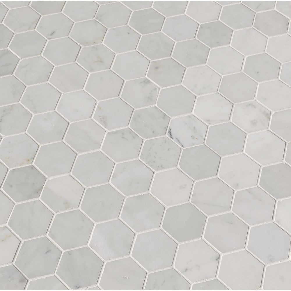 Carrara White 2x2 Hexagon Polished Mosaic Tile