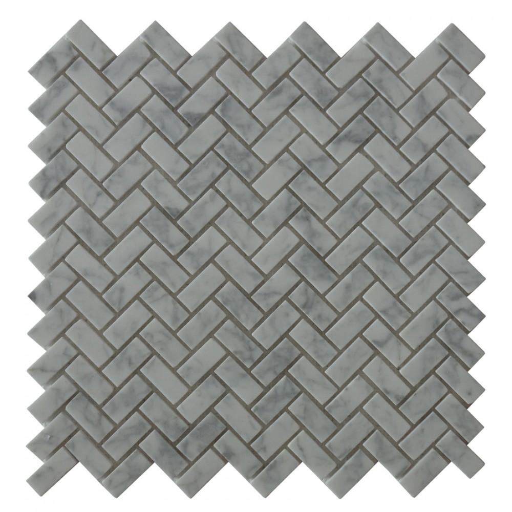 Carrara White Herringbone Mini Brick Pattern Mosaic