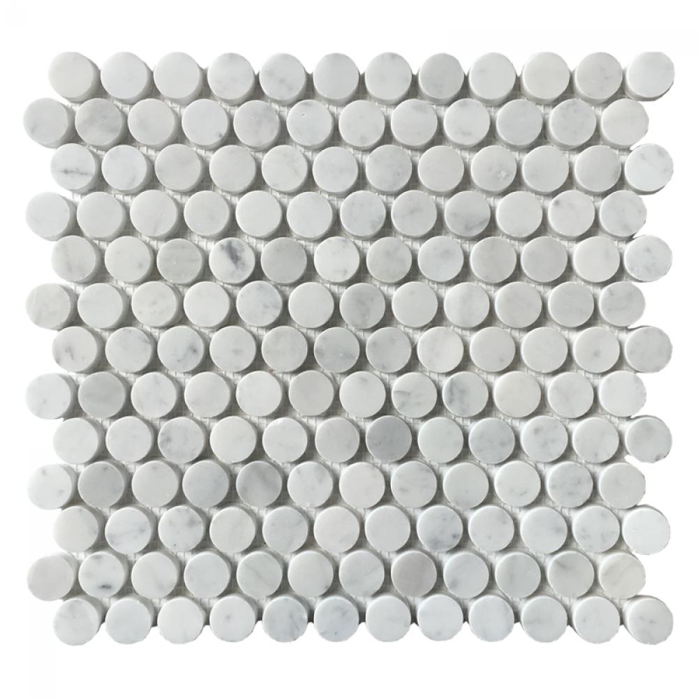 Carrara White Honeycomb 1x1 Penny Round Mosaic
