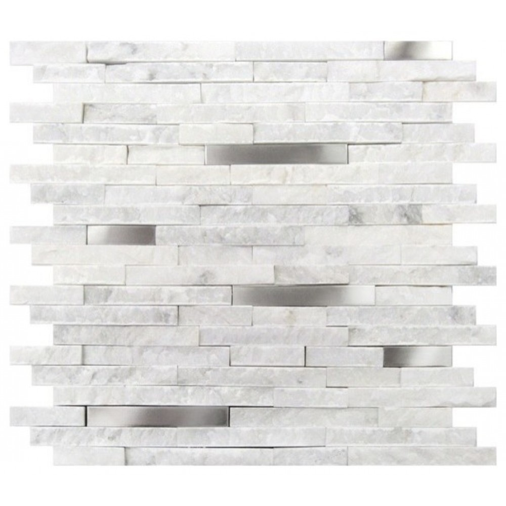 Carrara White Split Face Stainless Steel Interlocking Mosaic