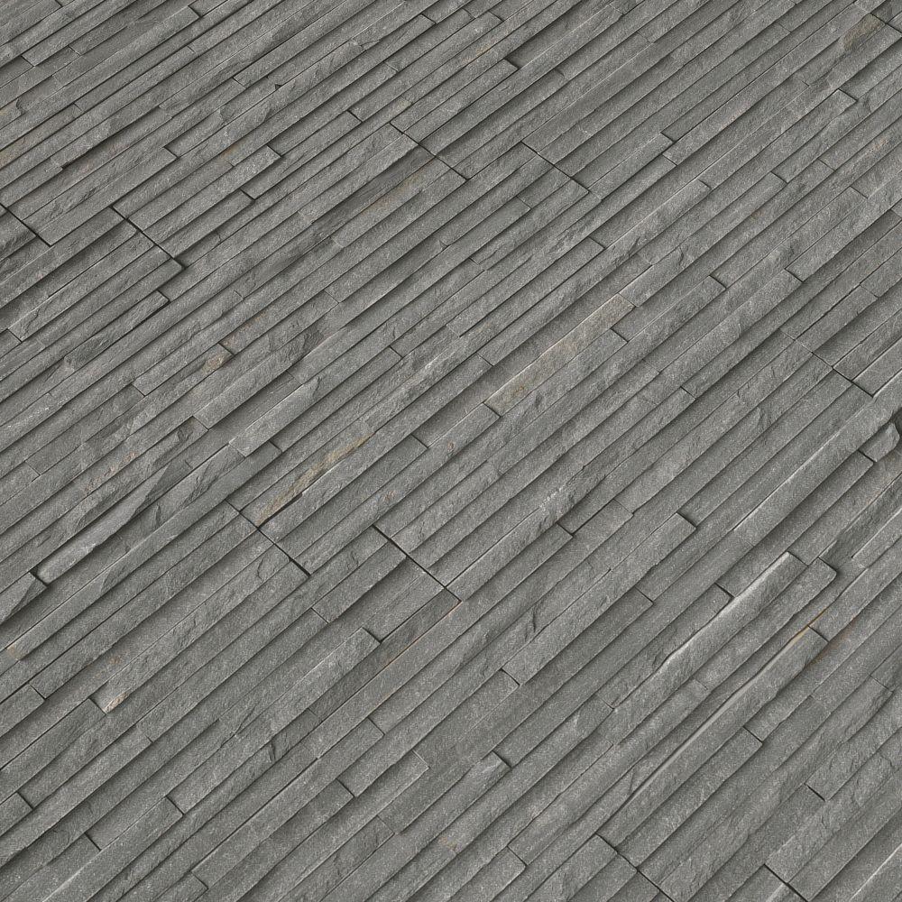 Charcoal 6x24 Split Face Pencil Ledger Panel