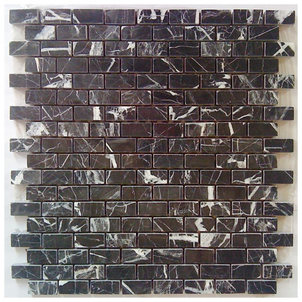 China Black Brick Pattern Interlocking Polished Marble Mosaic