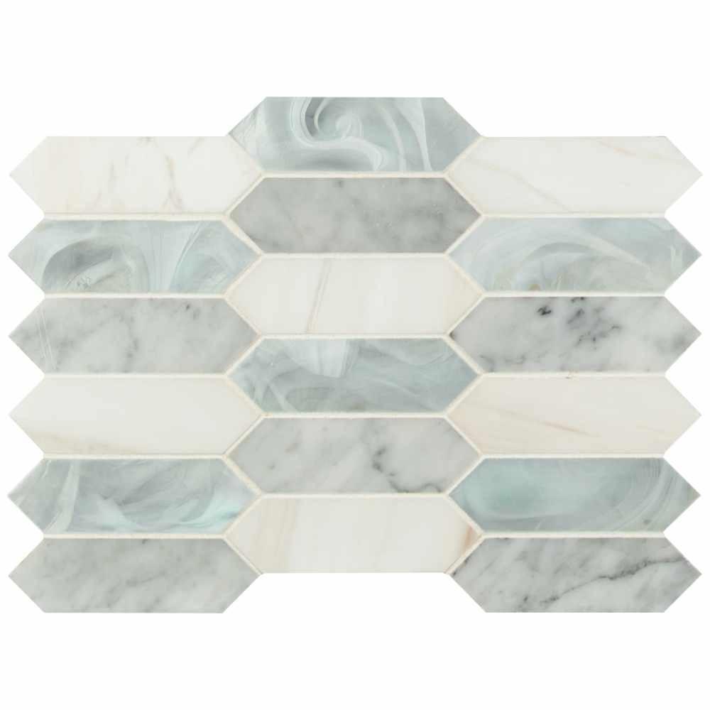 Cienega Spring Picket Elongated Hexagon Pattern Stone Glass Multi Mosaic