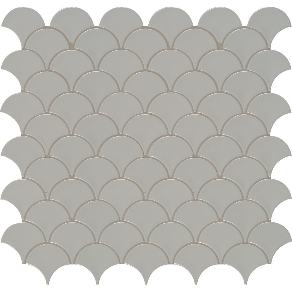 Domino Gray Glossy Fish Scale Mosaic