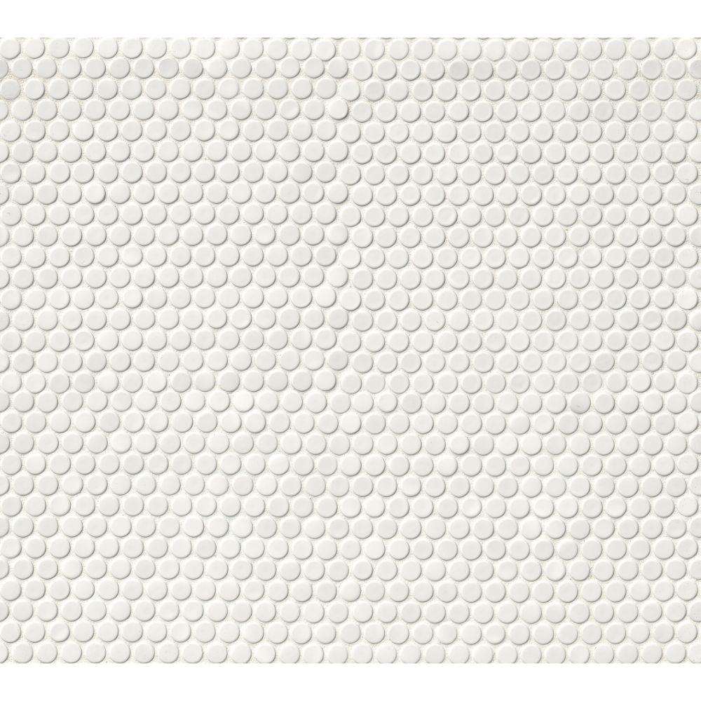 Domino White Glossy Penny Round Mosaic