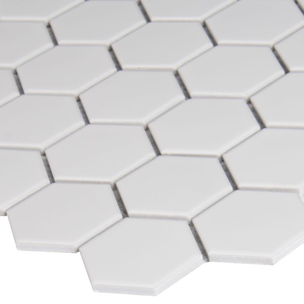 Domino White Matte 2X2 Hexagon Mosaic