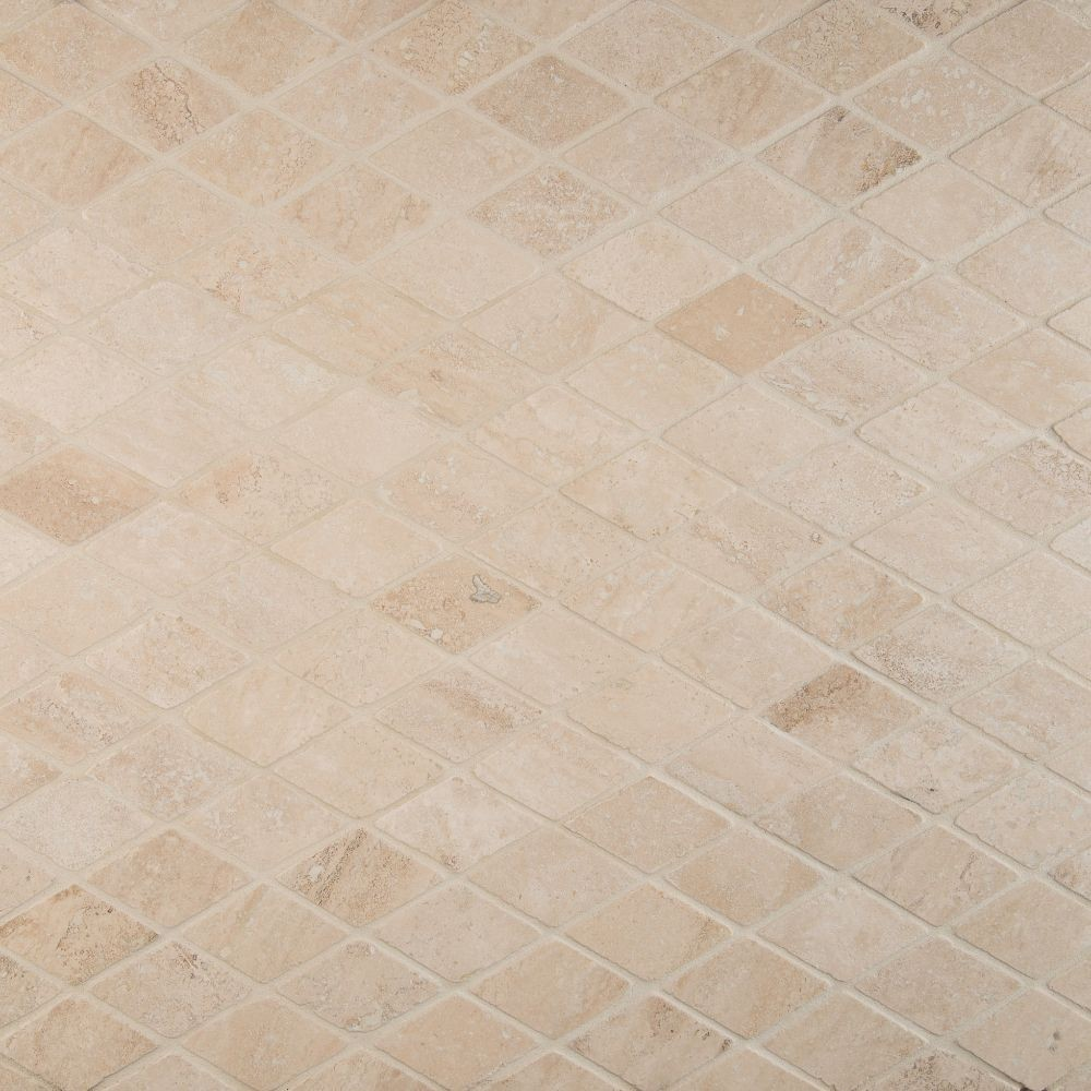 Durango Cream Rhomboids 2X2 Tumbled Travertine Mosaic