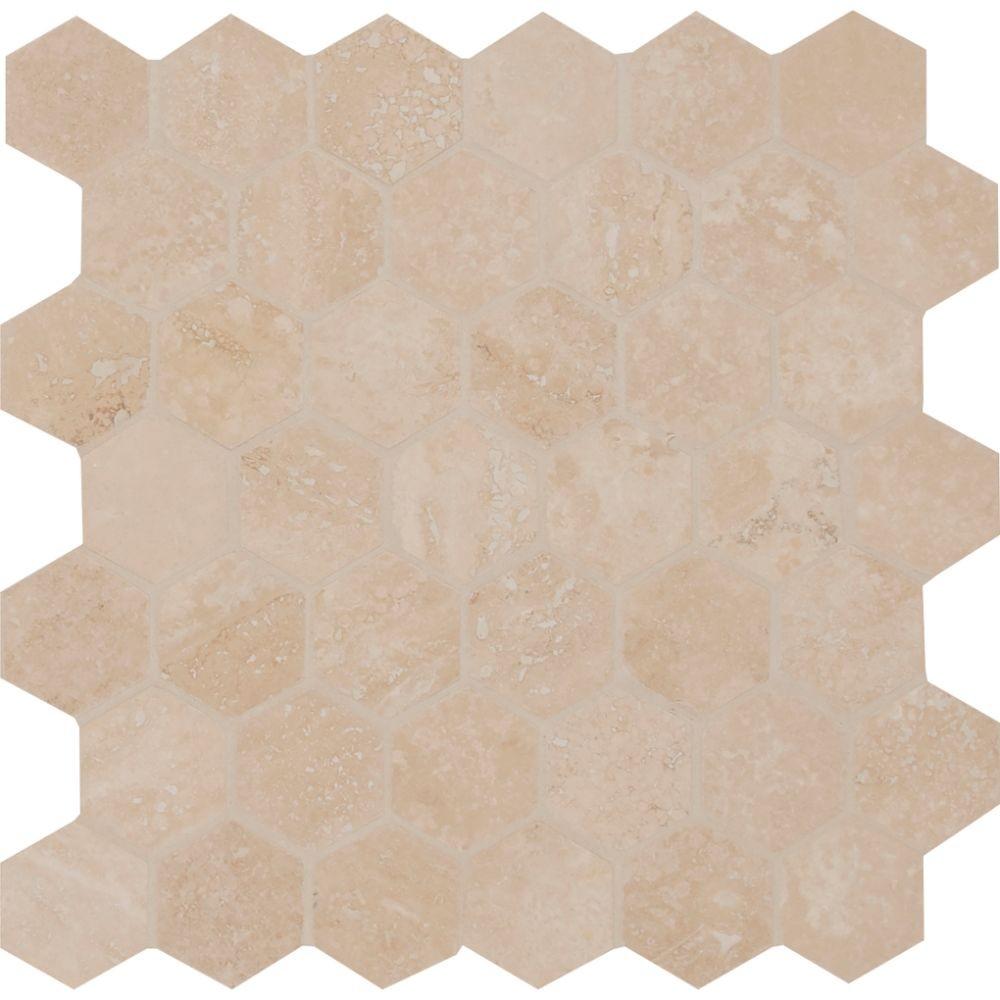 Durango Hexagon 2x2 Honed And Filled Travertine Mosaic