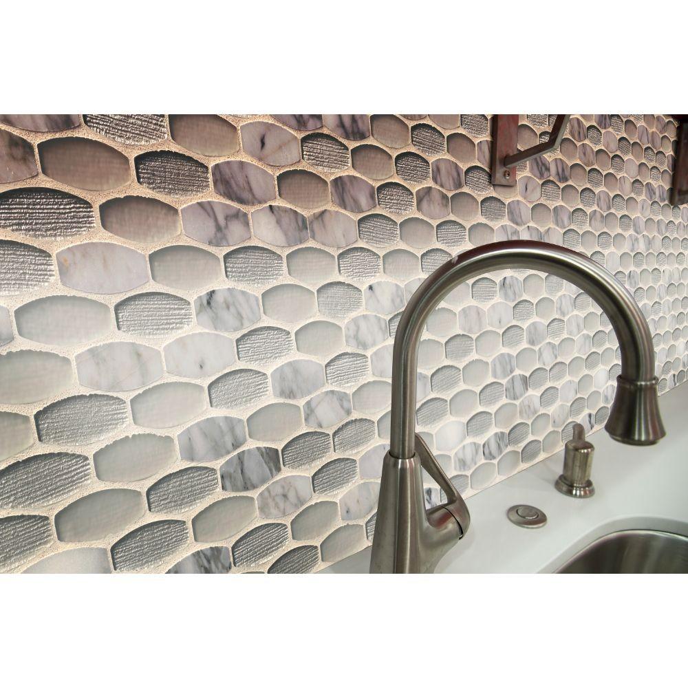 Ellia Blanco 12X12 Glass Stone Mesh Mounted Mosaic Tile