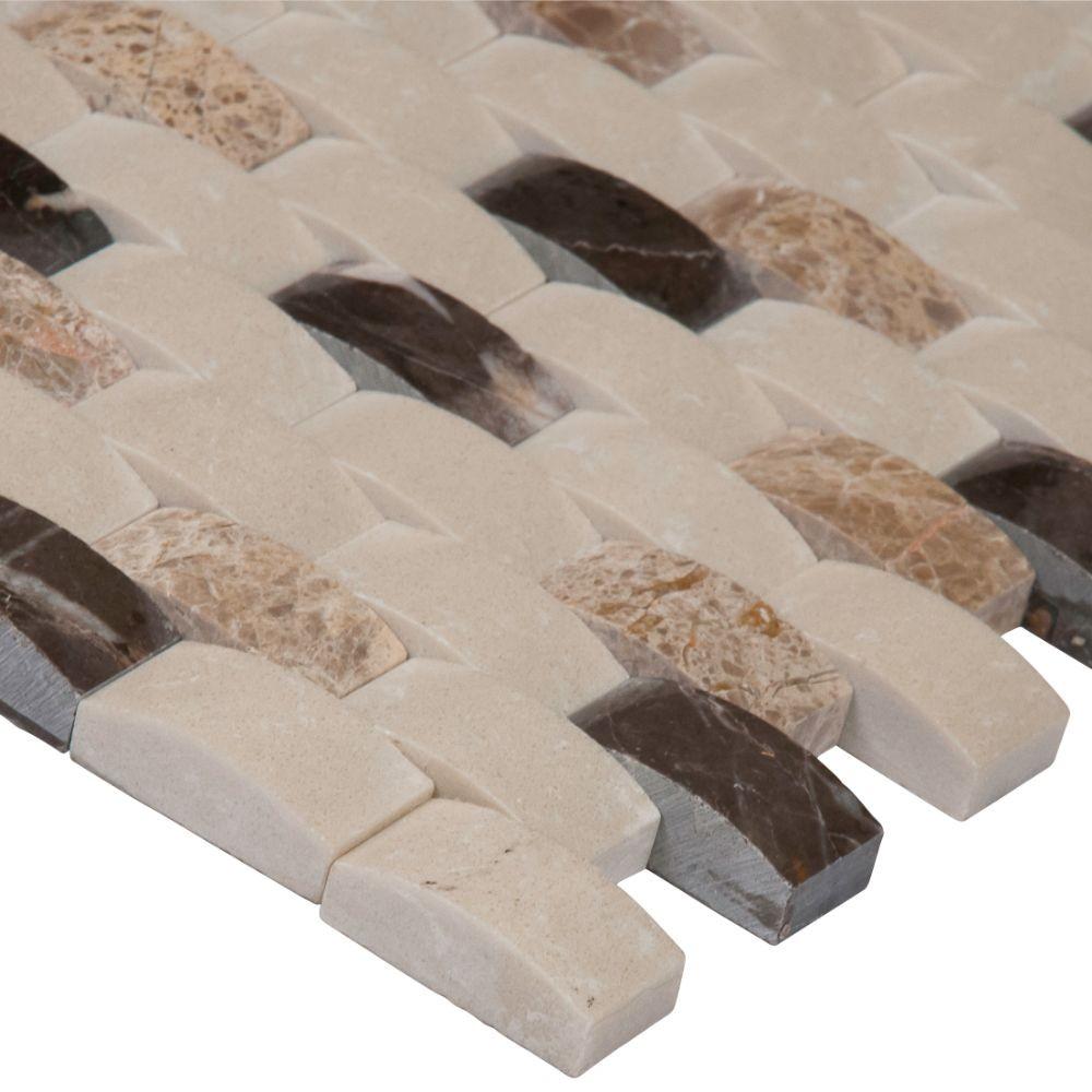 Emperador Blend Arched Brick Pattern Mosaic