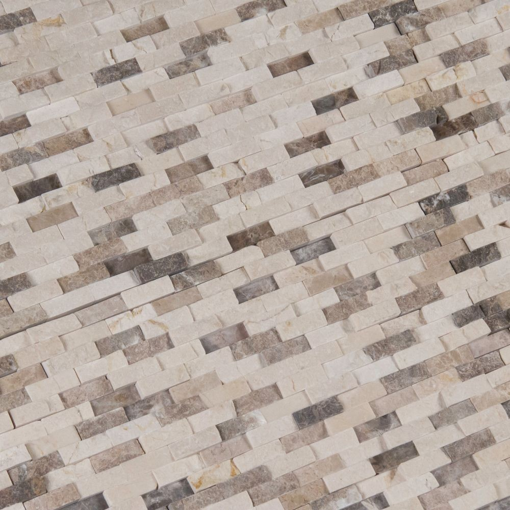 Emperador Dark Blend Interlocking Split face Pattern Mosaic