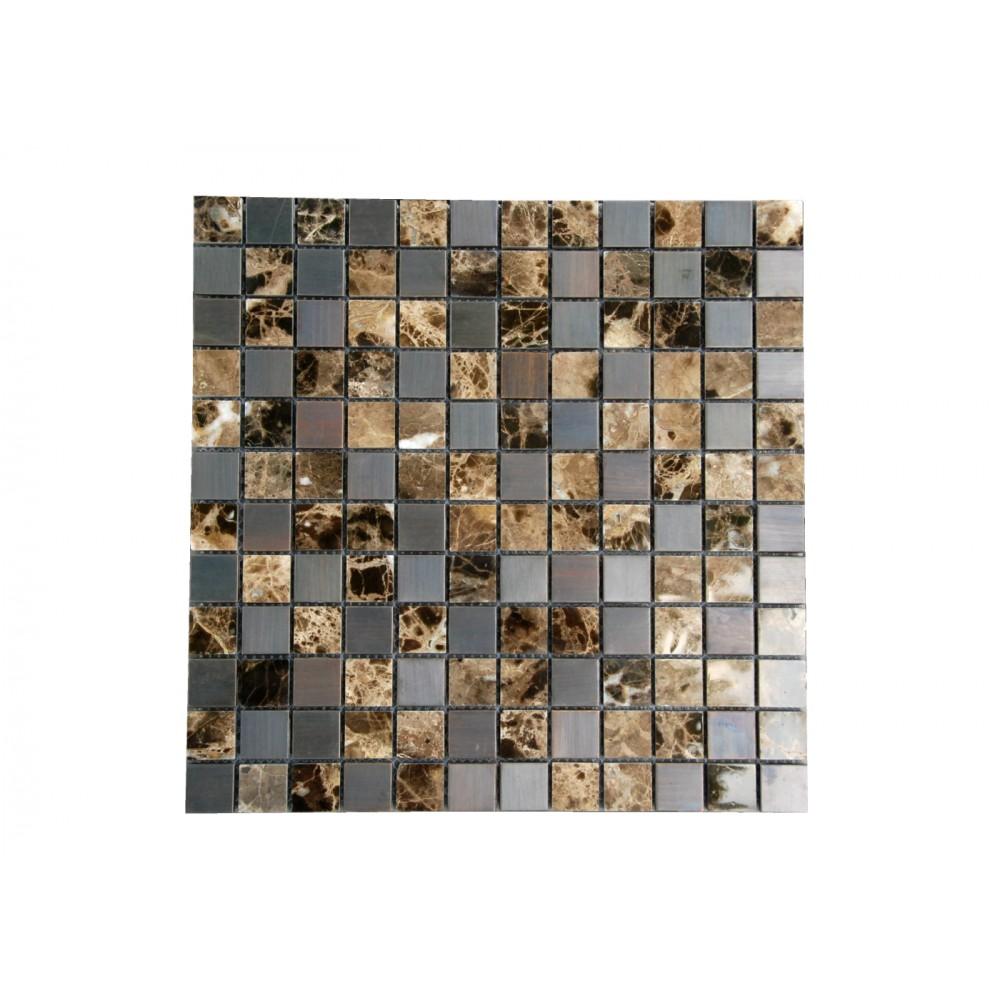 Emperador Dark Bronze 1X1 Stainless Steel Mosaic