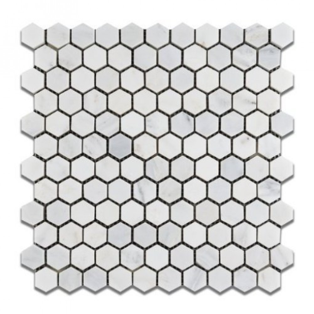 Oriental White 1x1 Hexagon Polished Mosaic