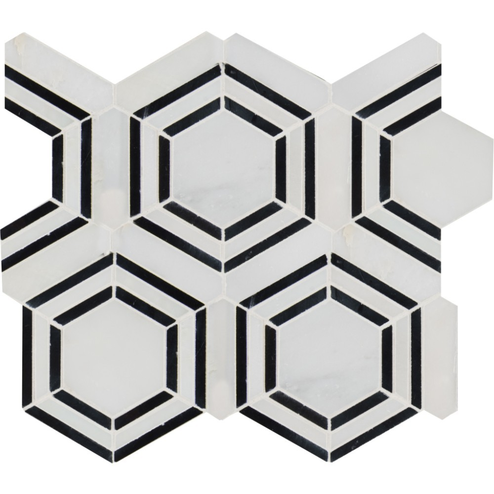 Georama Nero Pattern Polished Marble Mosaic