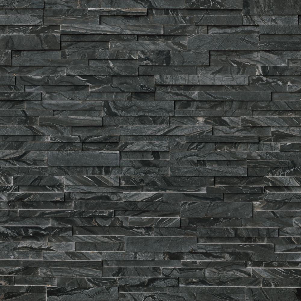 Glacial Black 6X18X6 3D Honed Corner Ledger Panel