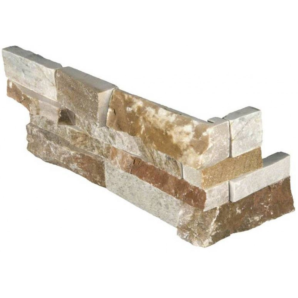 Golden White 6x18x6 Split Face Corner Ledger Panel