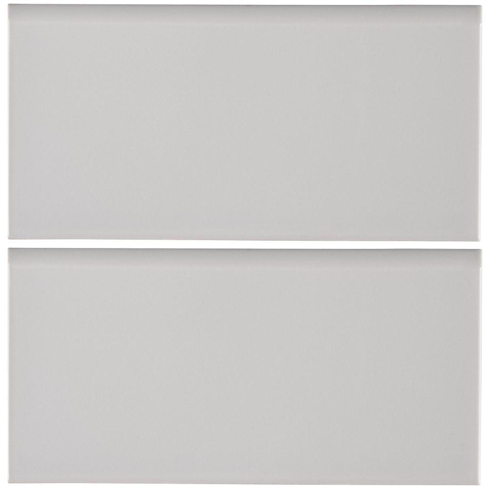Gray Glossy 3X6 Single Bullnose