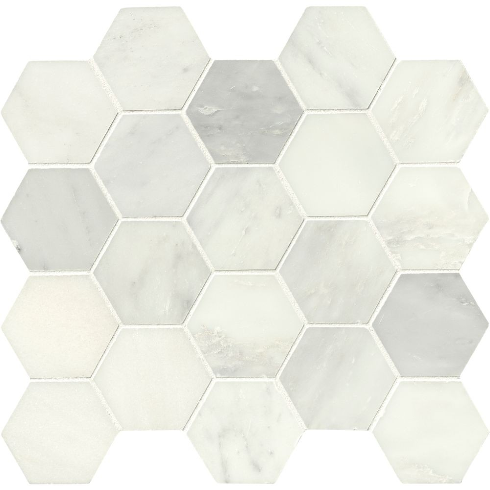 Greecian White 3x3 Polished Hexagon Mosaic