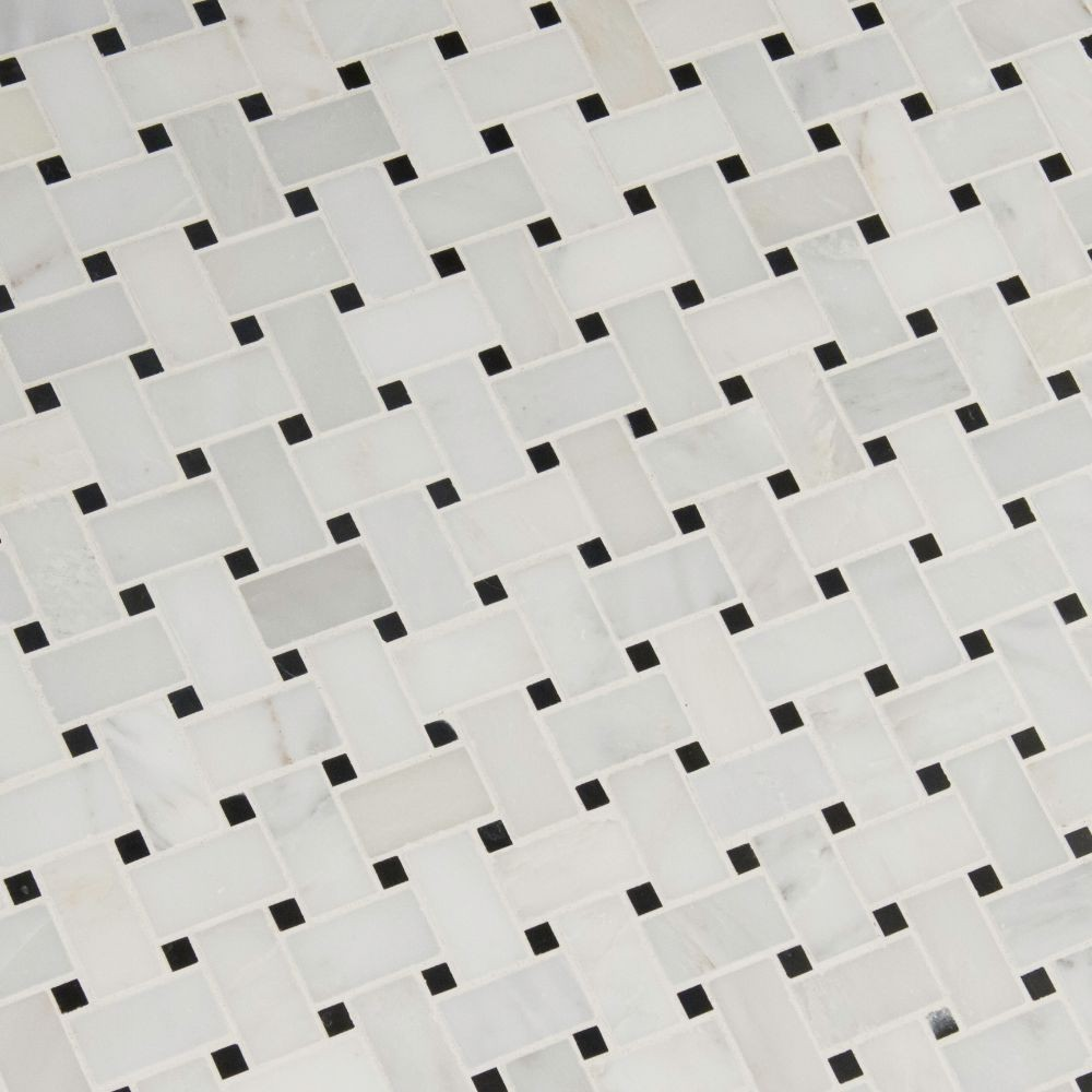 Greecian White Basketweave Polished Pattern Mosaic