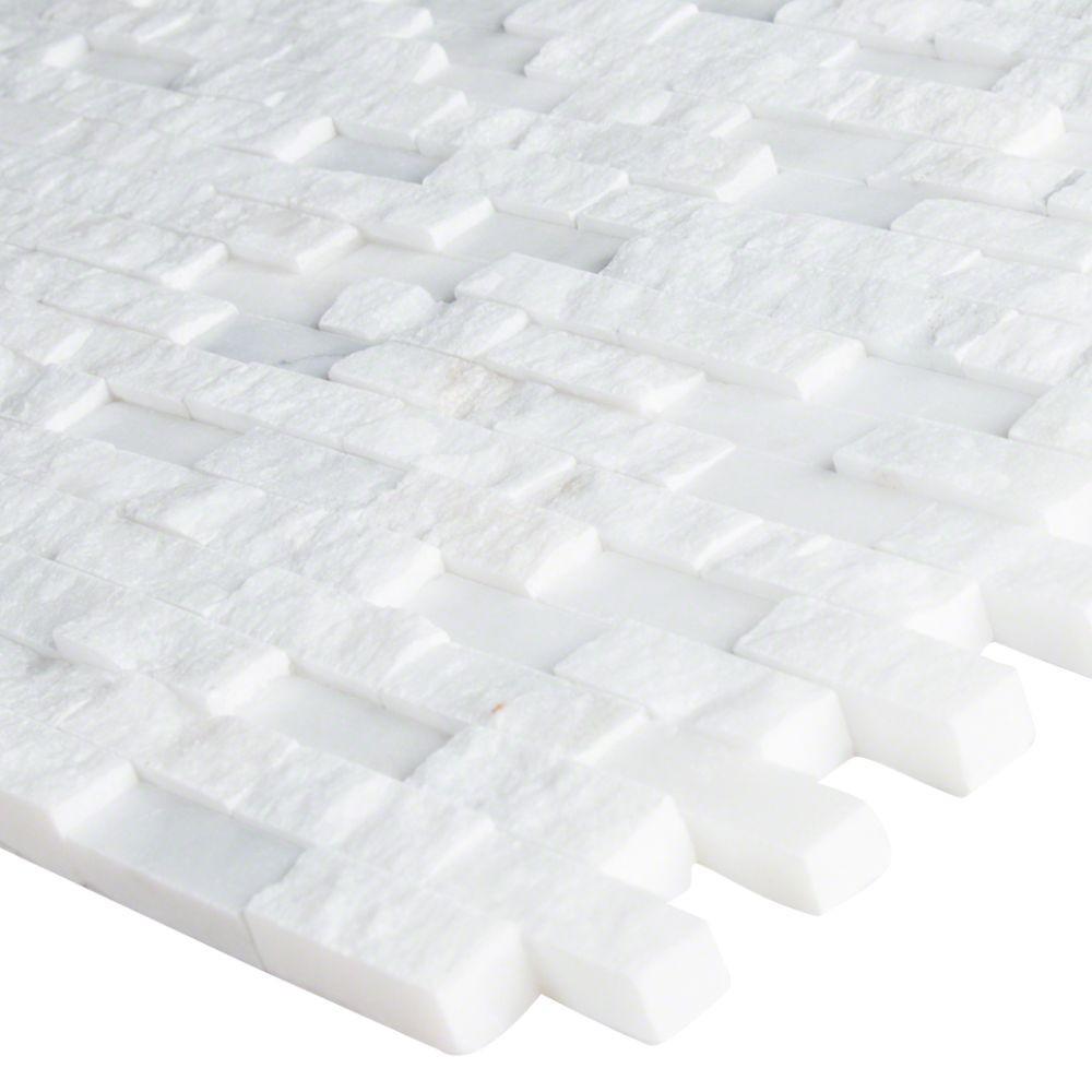 Greecian White Splitface Interlocking Pattern Mosaic