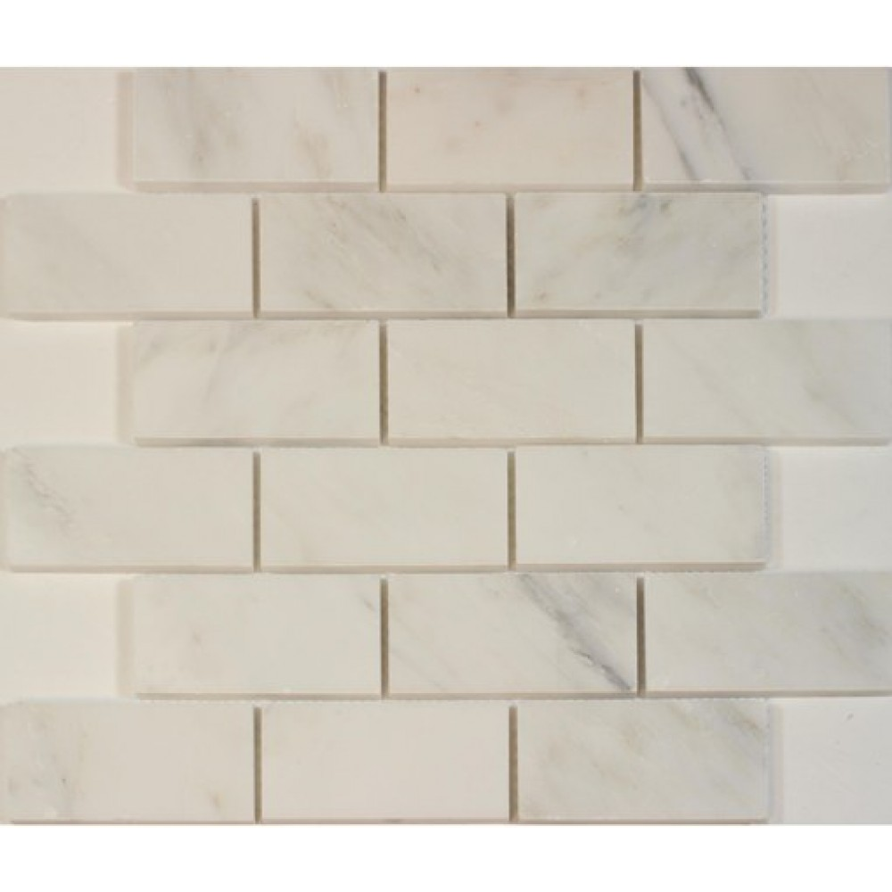 Carrara White 2x4 Brick Honed Mosaic