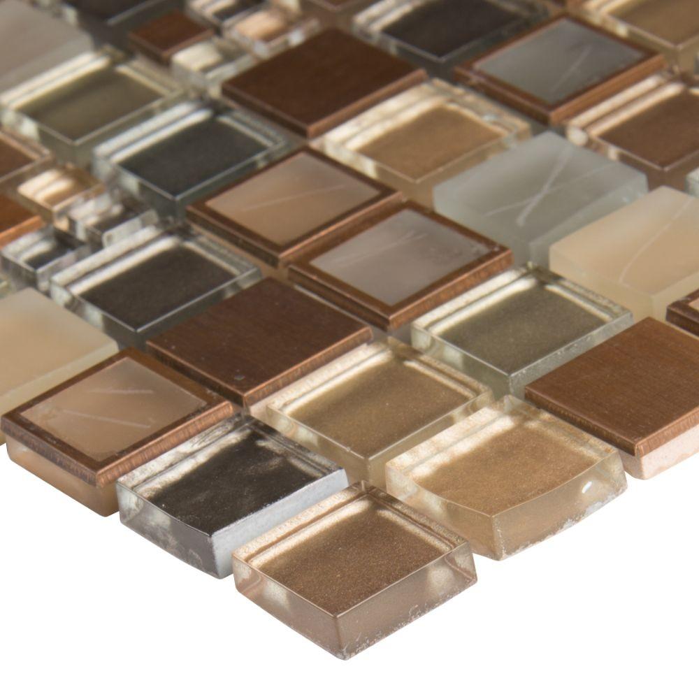 Manhattan 1x1 Blend Glass Stone Mosaic