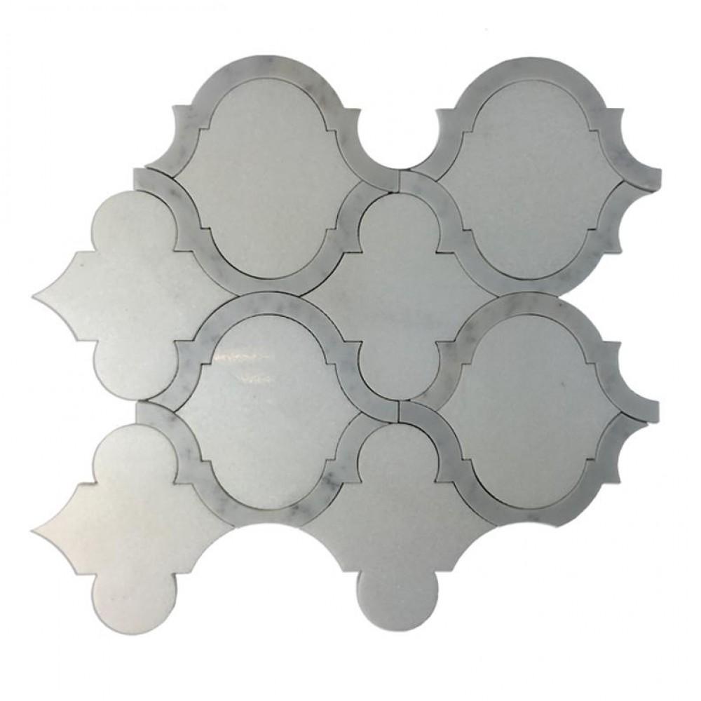Marrakech Thassos White 9X10 Waterjet Mosaic
