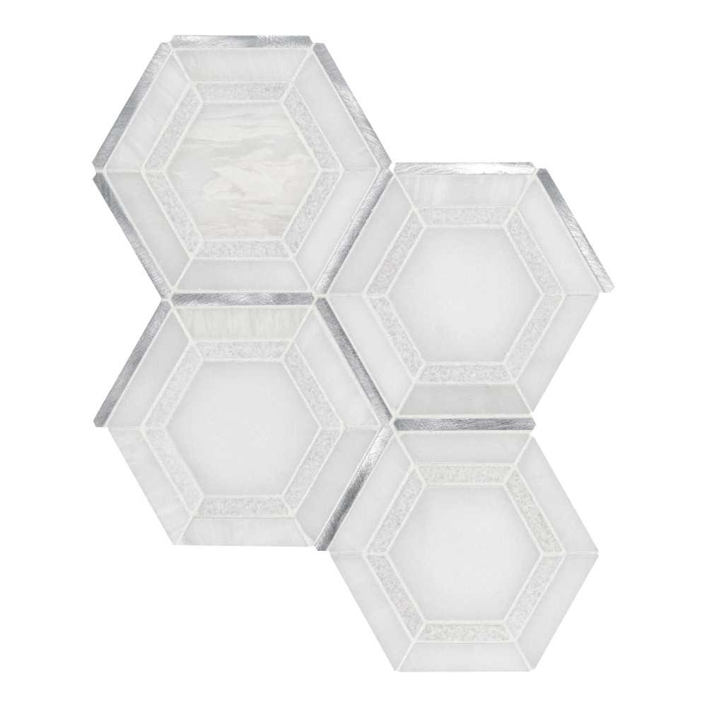 Medici Silver Geometric Pattern Hexagon Mosaic Tile