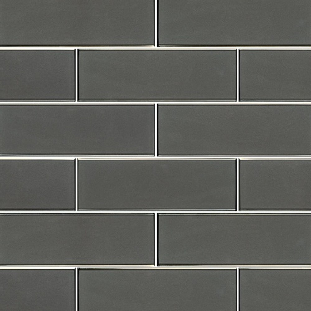Metallic Gray 4x12 Glossy Glass Subway Tile