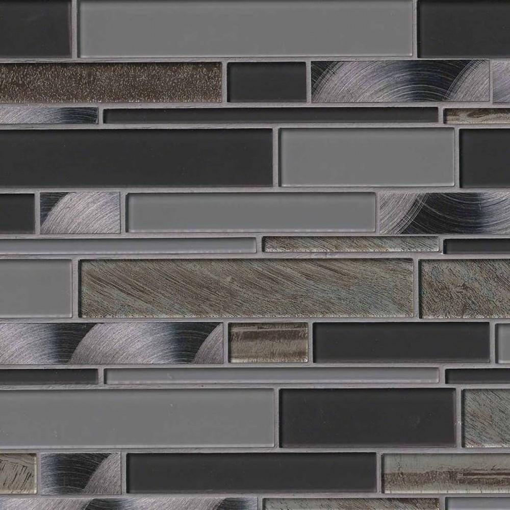 Metallica Interlocking Pattern Glass Metal Mosaic