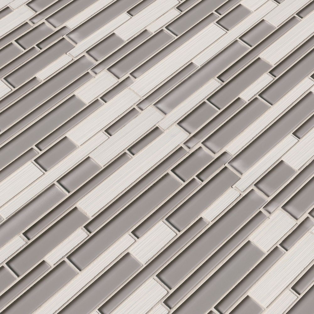 Metro Glacier Blend Interlocking Porcelain Glass Mosaic