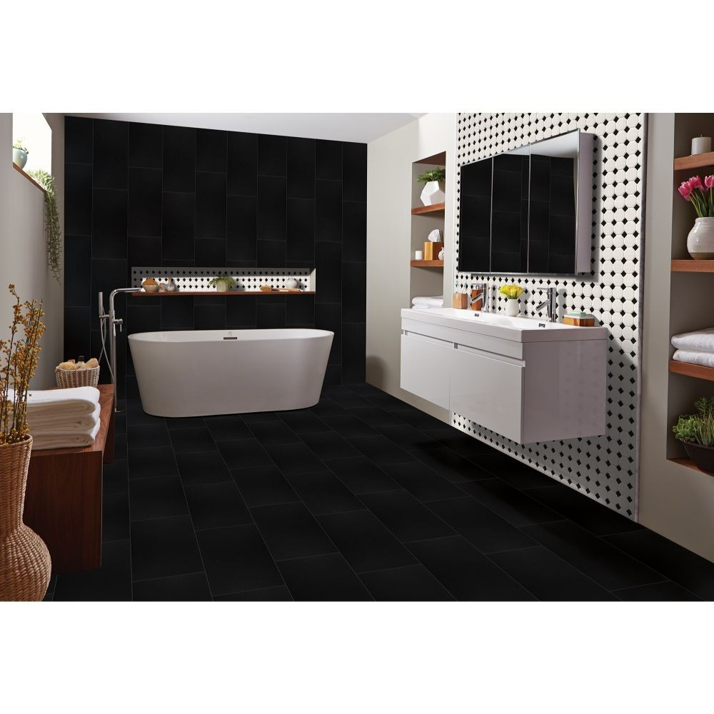 Metro Octagon Matte White and Black Porcelain Mosaic Tile