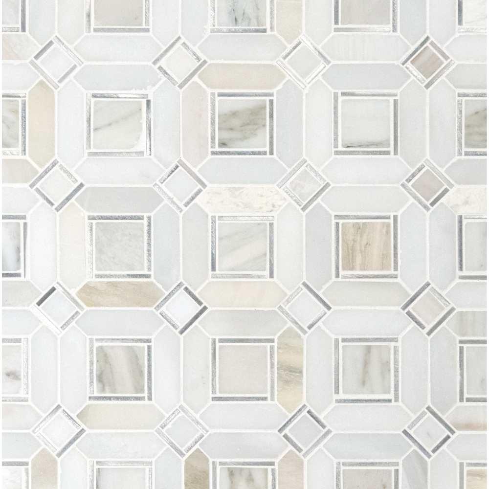 Milano Silver Geometric Pattern Backsplash Mosaic Tile