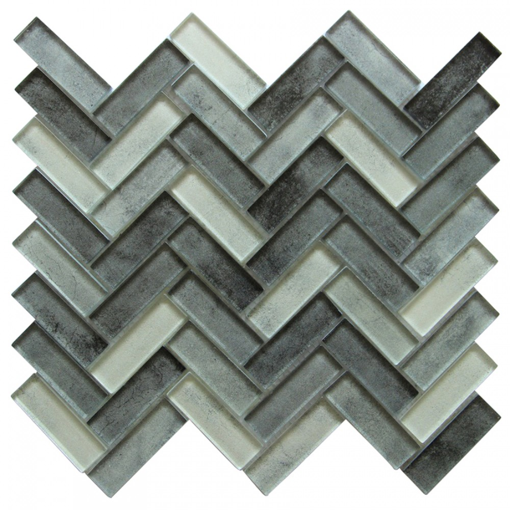 Misty Gray 12x11 Herringbone Glass Mosaic