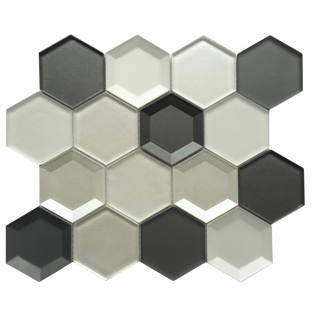 Mixed 3D Hexagon 10x12 Glass Mosaic