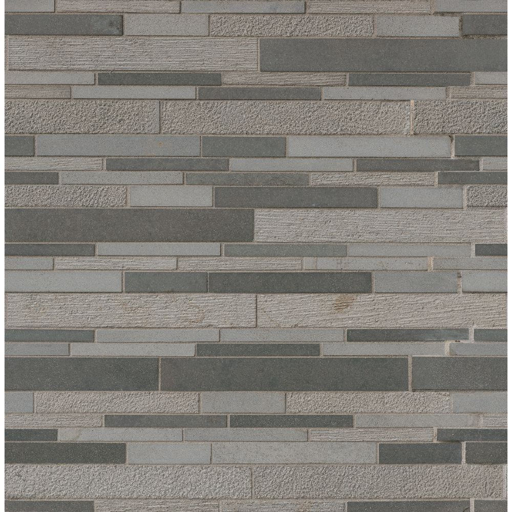 Mystic Gray Interlocking Mixed Finish Mosaic