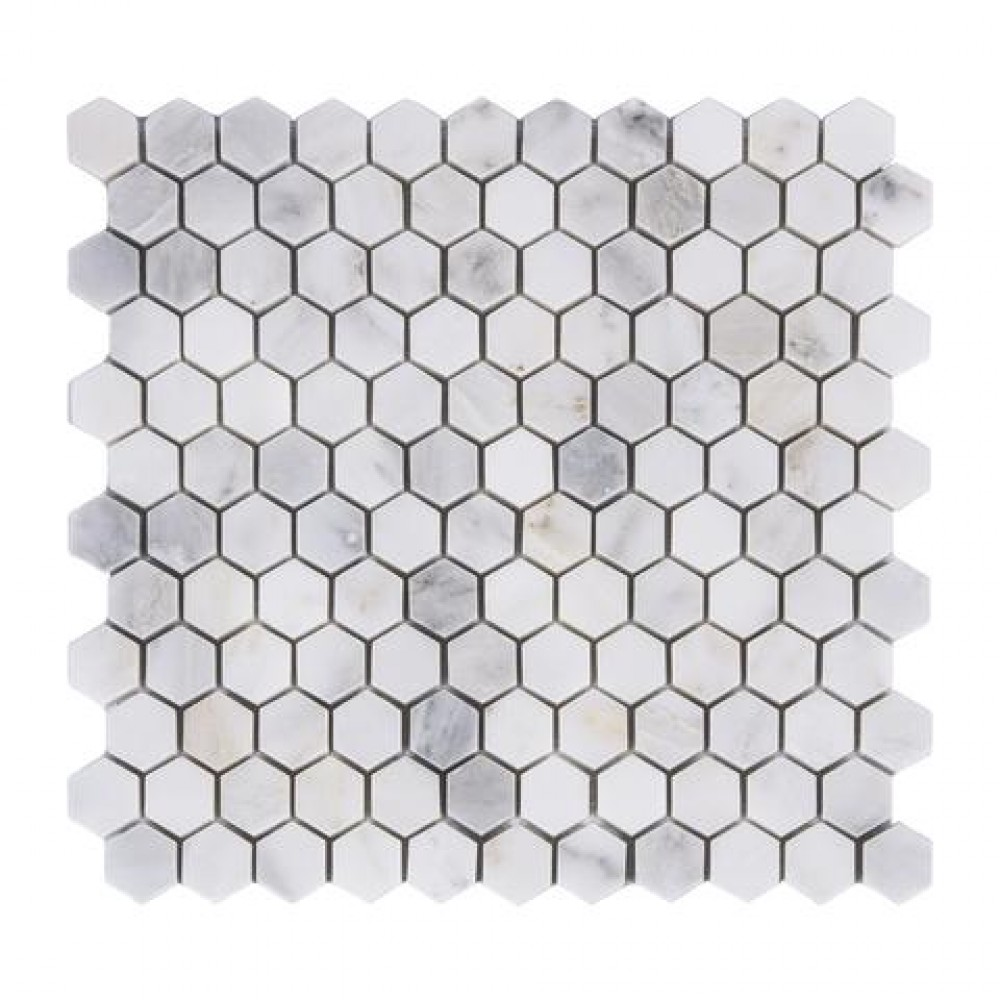 Oriental White 1x1Hexagon Honed Mosaic