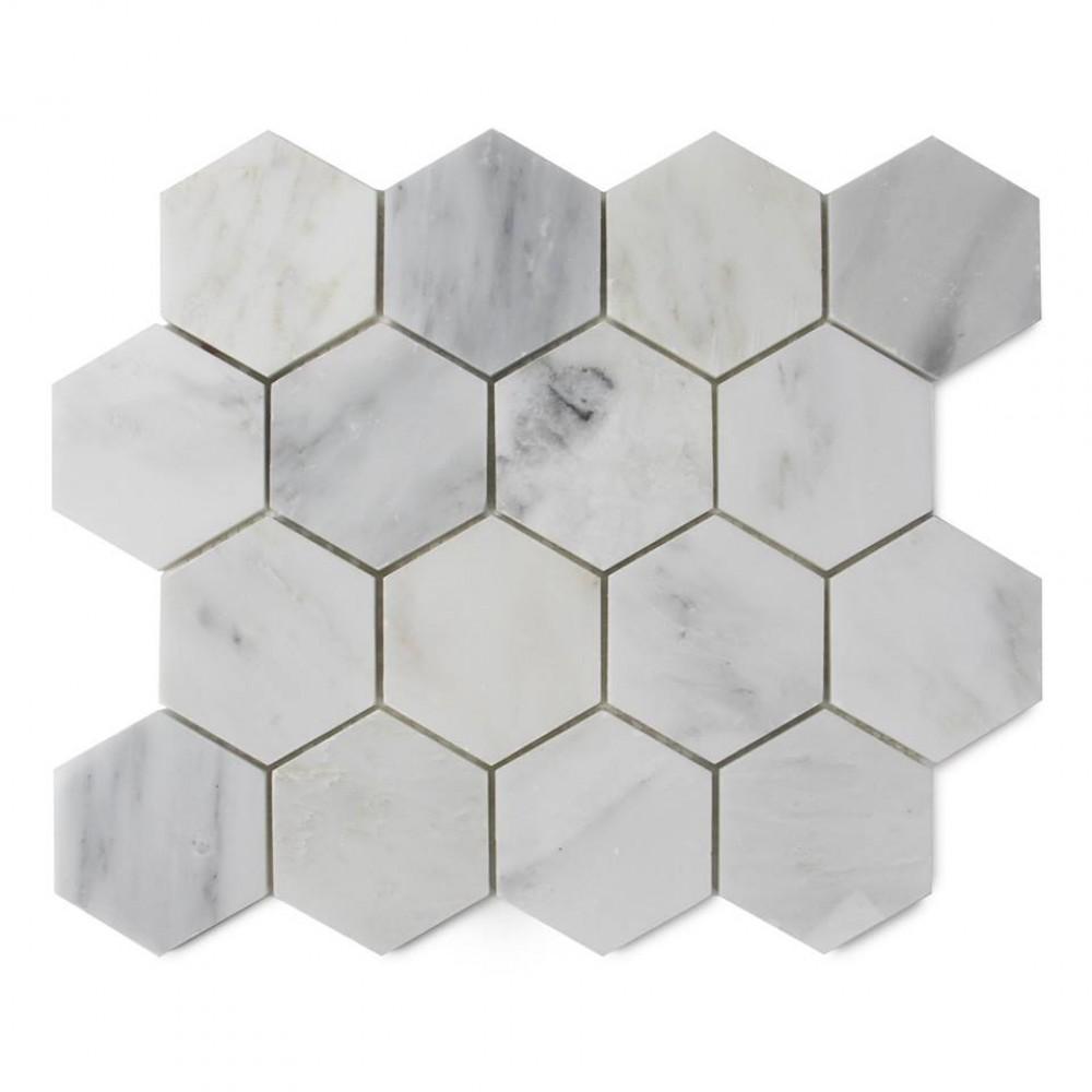 Oriental White 3x3 Polished Hexagon Mosaic