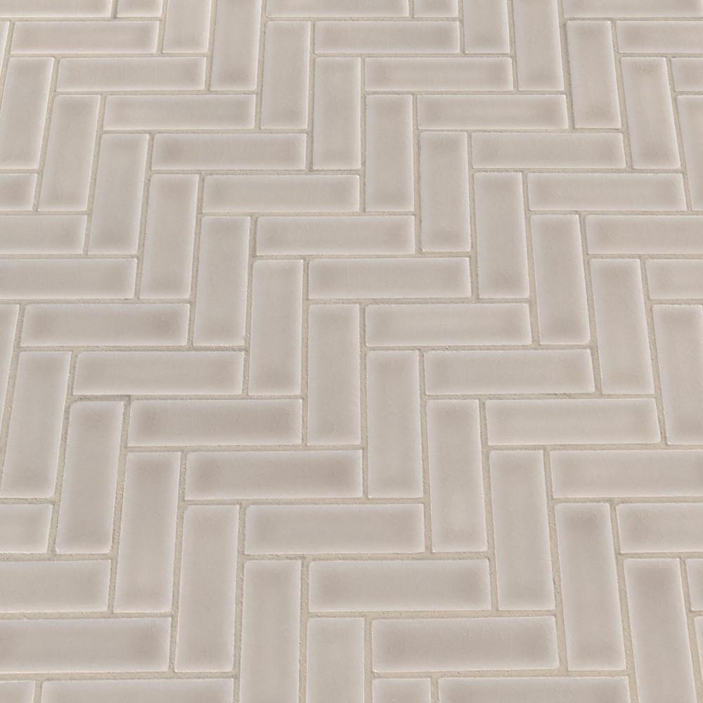 Portico Pearl Glossy 1X3 Herringbone Pattern Mosaic
