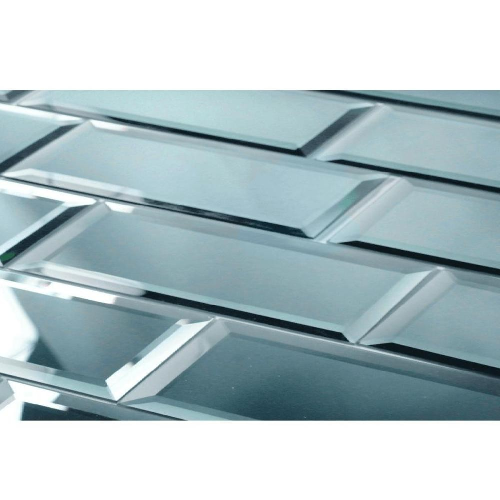 Reflections Graphite 3x12 Polished Glass Tile Backsplash
