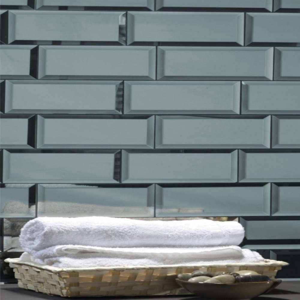 Reflections Graphite 3X12 Polished Glass Tile