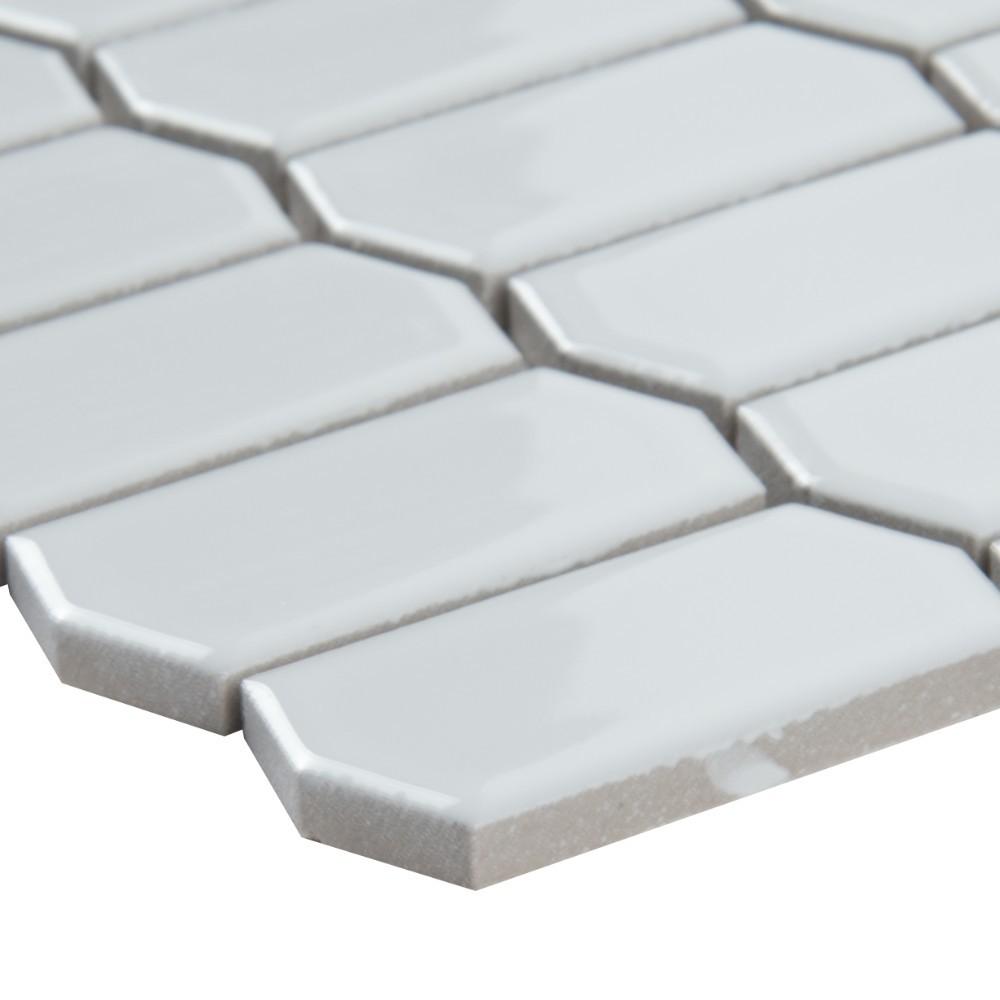 Retro Picket Bianco Glossy Pattern Porcelain Mosaic