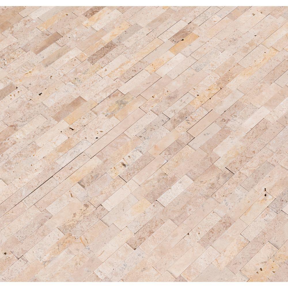 Roman Beige Splitface Peel and Stick Wall Tile