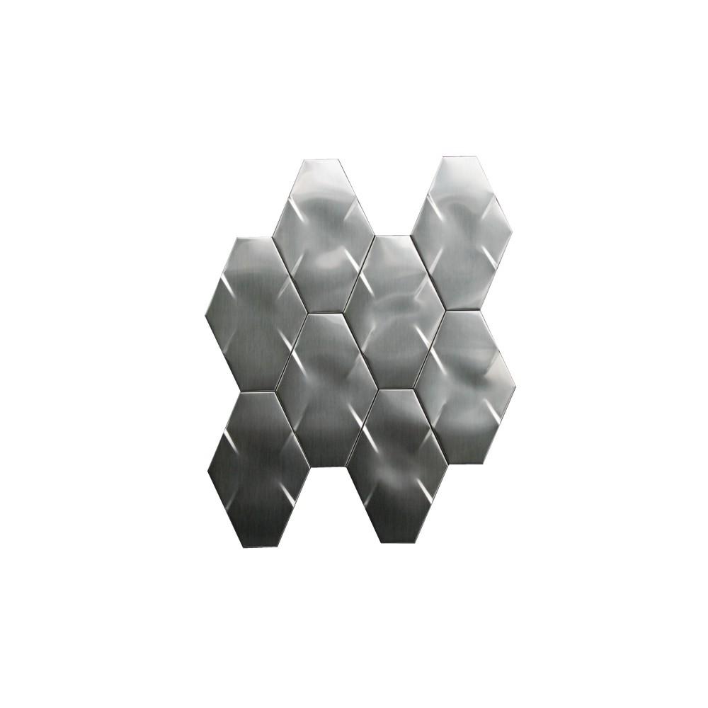 Stainless Steel 3D Interlocking 6x4 Brushed Hexagon Mosaic