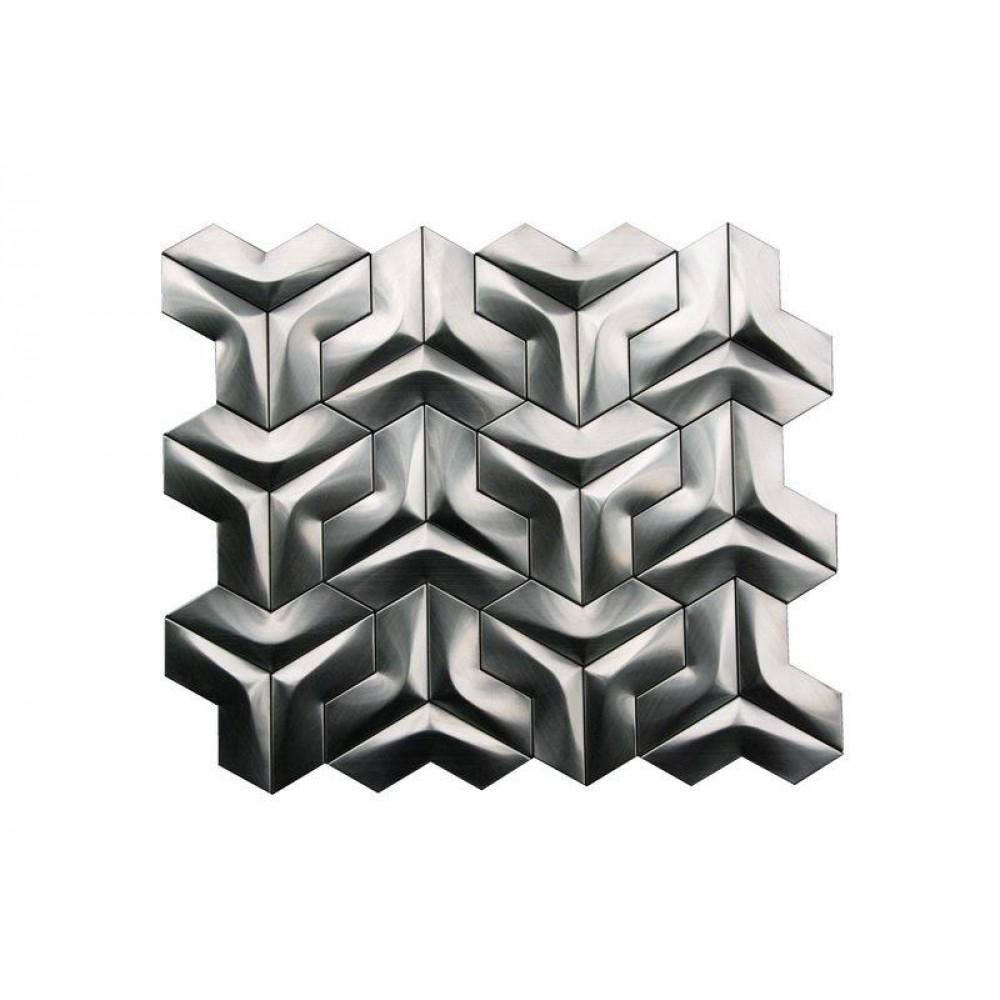Stainless Steel 3D Interlocking Arrowhead Brushed Mosaic