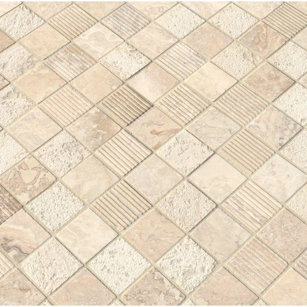 Tuscany Alabastrino 2x2 Mixed Finish Travertine Mosaic