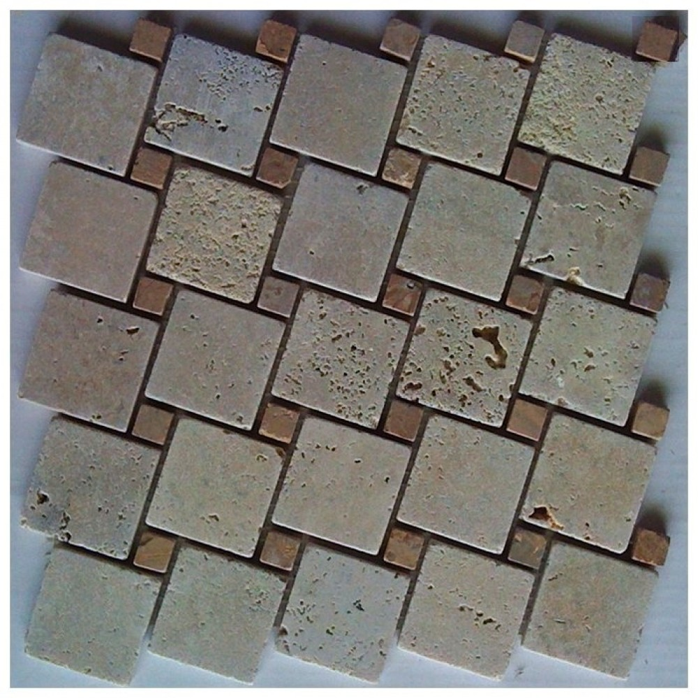Tuscany Classic Blend Interlocking Travertine Mosaic