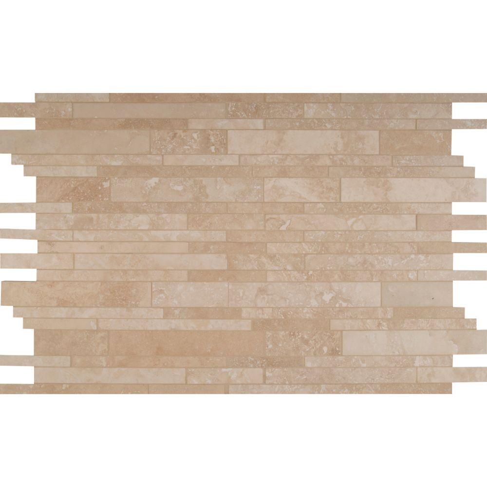 Tuscany Ivory Interlocking Pattern 12x18 Honed Travertine Mosaic
