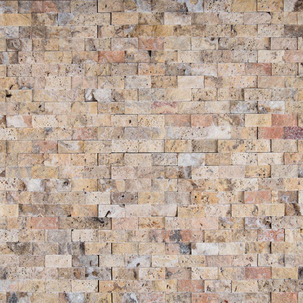 Tuscany Scabas 1x2 Split Face Travertine Mosaic
