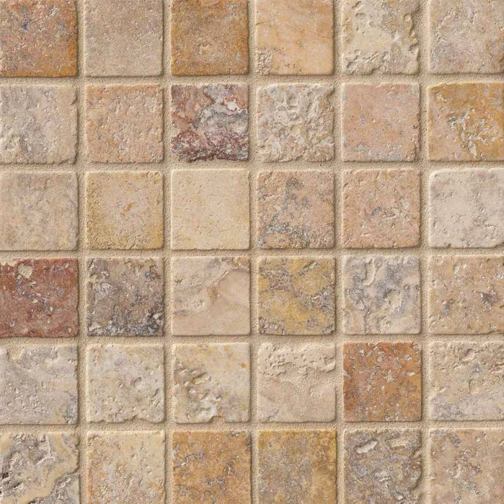 Tuscany Scabas 2x2 Tumbled Travertine Mosaic